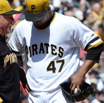 Pitching coach Ray Searage and starter Francisco Liriano  Pirates pitching coach Ray Searage tries to settle down starter Francisco Liriano in the first inning at PNC Park Sunday.