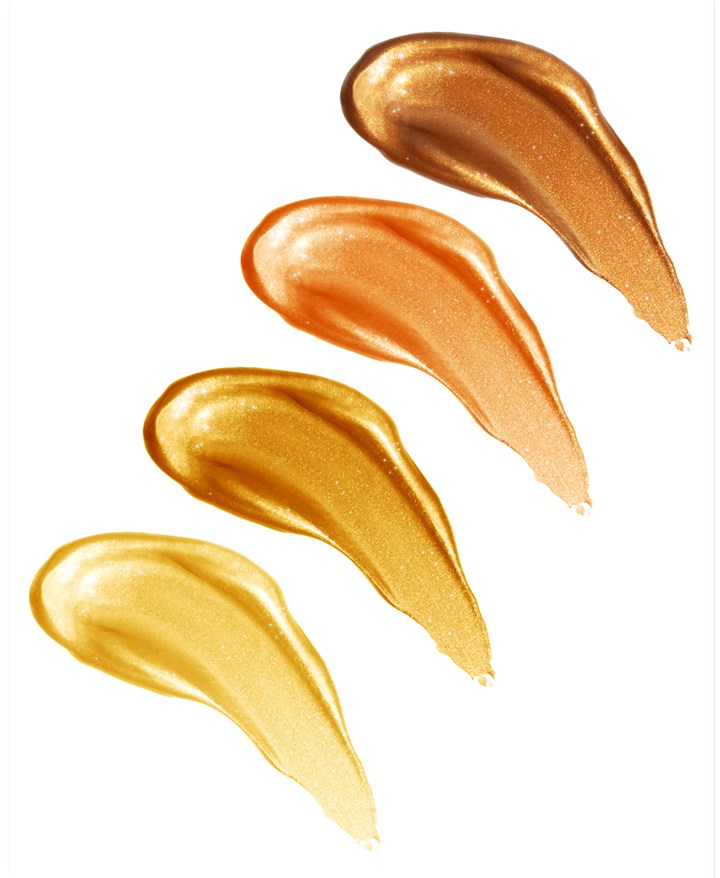 20140520hdGleamSwatchesSeen Body Radiance from Gleam by Melanie Mills comes in a variety of shades for different skin tones.