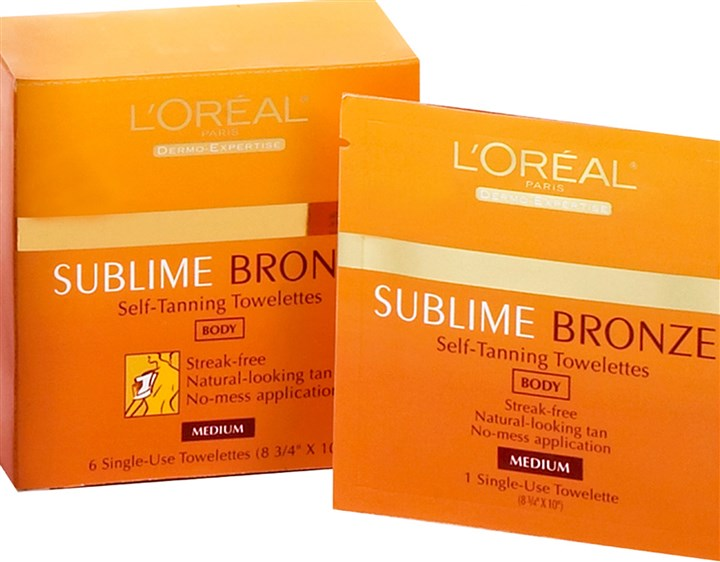 Sublime Bronze body towelettes by L'Oreal Paris Sublime Bronze body towelettes by L'Oreal Paris, $10.99 at lorealparisusa.com.