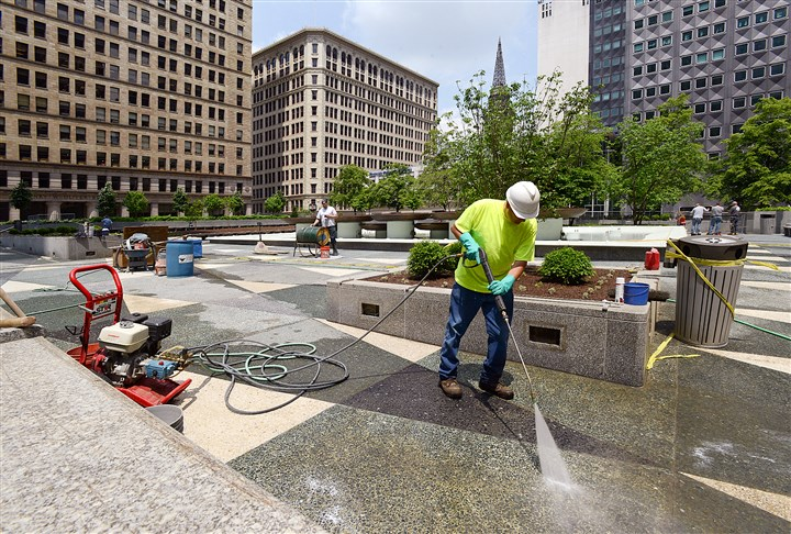 Mellon Square Pittsburgh 2014 The restored terrazzo was acid washed last week at Mellon Square in Downtown Pittsburgh in advance of the reopening ceremonies.