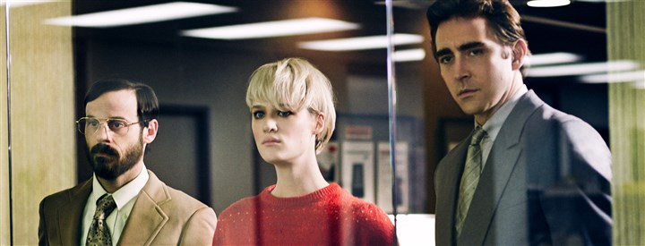 "20140526HACF0783Mag Scoot McNairy, Mackenzie Davis and Lee Pace star in AMC's ""Halt and Catch Fire."""