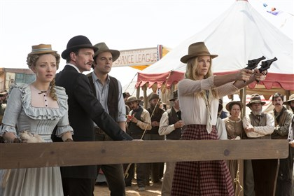 "Film Review A Million Ways  From left, Amanda Seyfried, Neil Patrick Harris, Seth MacFarlane and Charlize Theron in a scene from ""A Million Ways to Die in the West."""
