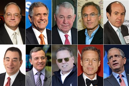 CEO Pay Top 10 This photo combination shows the 10 highest-paid CEOs of 2013, as calculated by The Associated Press and Equilar, an executive pay research firm. Top row, from left: Anthony Petrello, Nabors Industries, $68.2 million; Leslie Moonves, CBS, $65.6 million; Richard Adkerson, Freeport-McMoRan Copper & Gold, $55.3 million; Stephen Kaufer, TripAdvisor, $39 million; and Philippe Dauman, Viacom, $37.2 million. Bottom row, from left: Leonard Schleifer, Regeneron Pharmaceuticals, $36.3 million; Robert Iger, Walt Disney, $34.3 million; David Zaslav, Discovery Communications, $33.3 million; Jeffrey Bewkes, Time Warner, $32.5 million; and Brian Roberts, Comcast, $31.4 million.