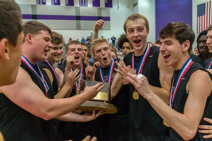 Seniors.jpg Ambridge seniors celebrate after accepting WPIAL Class AA championship trophy. The Bridgers defeated Derry Area, 3-0, in the championship match at Baldwin High School..