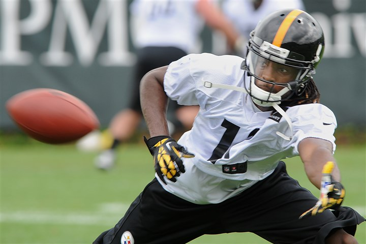 20140528radMarcusWheatonSports02-4 Wide Receiver Marcus Wheaton goes low to catch a pass at the Steelers OTA session on the South Side.