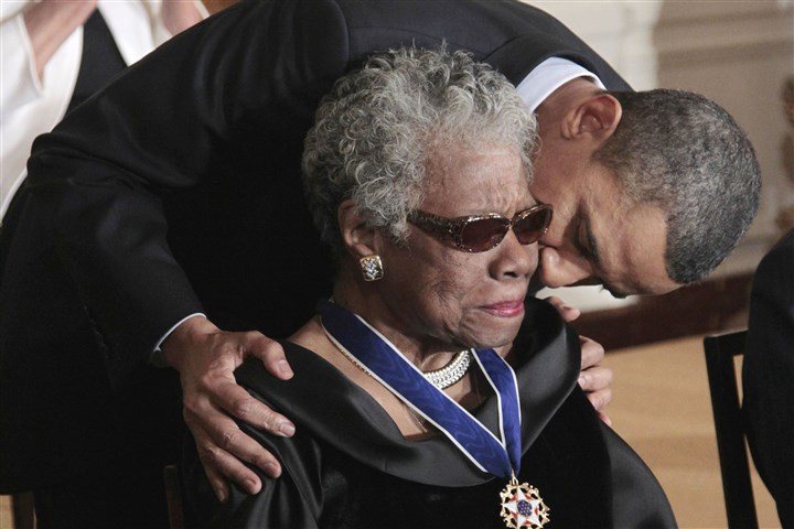Obit Maya Angelou President Barack Obama kisses author and poet Maya Angelou after awarding her the 2010 Medal of Freedom during a ceremony in the East Room of the White House in Washington in 2011.