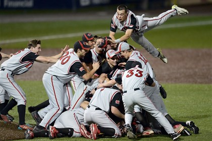 mfblackhawksports12-1 West Allegheny's Mike Cummings leaps onto the pile of his teammates after defeating Blackhawk in the WPIAL Class AAA championship Thursday.