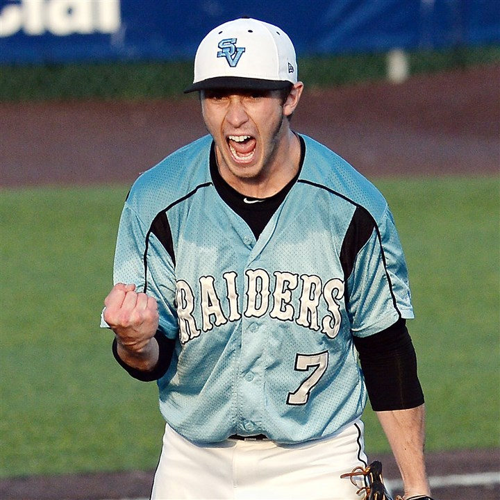 20140529mfsenecasports09-20 Seneca Valley's Connor Coward celebrates after defeating Baldwin in the WPIAL Class AAAA championship Thursday.