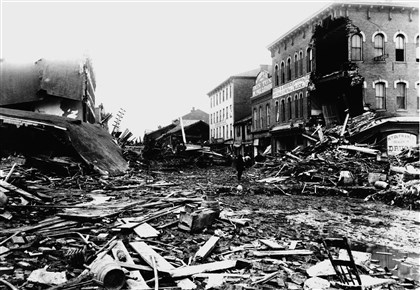 Main Street in Johnstown Much of Main Street in Johnstown was destroyed in the flood on May 31, 1889.