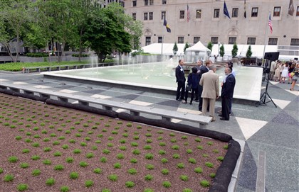 20140528bwMellonSeen12 Rededication of Mellon Square, Downtown.