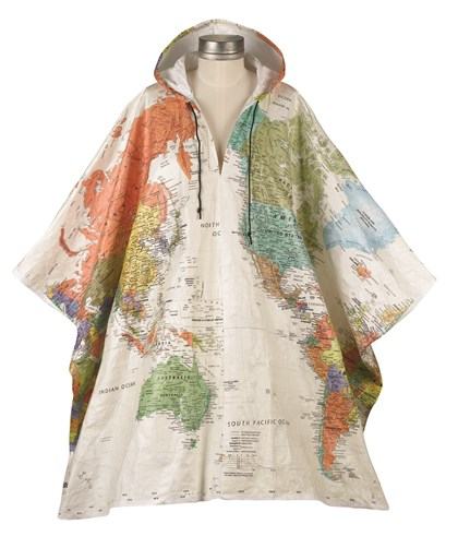 poncho Water-resistant world map poncho for $39.95 from Signals.com.