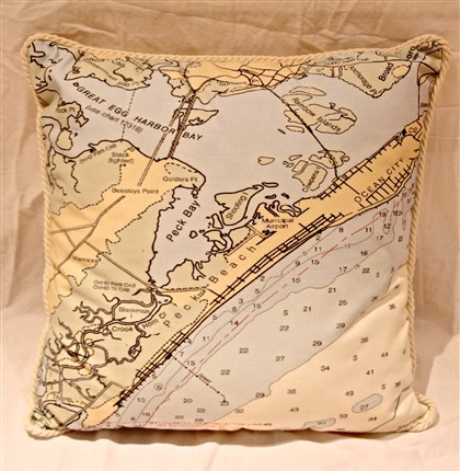 Mad Bay Designs nautical chart pillow  Mad Bay Designs nautical chart pillow $100 at www.madbaydesigns.com.