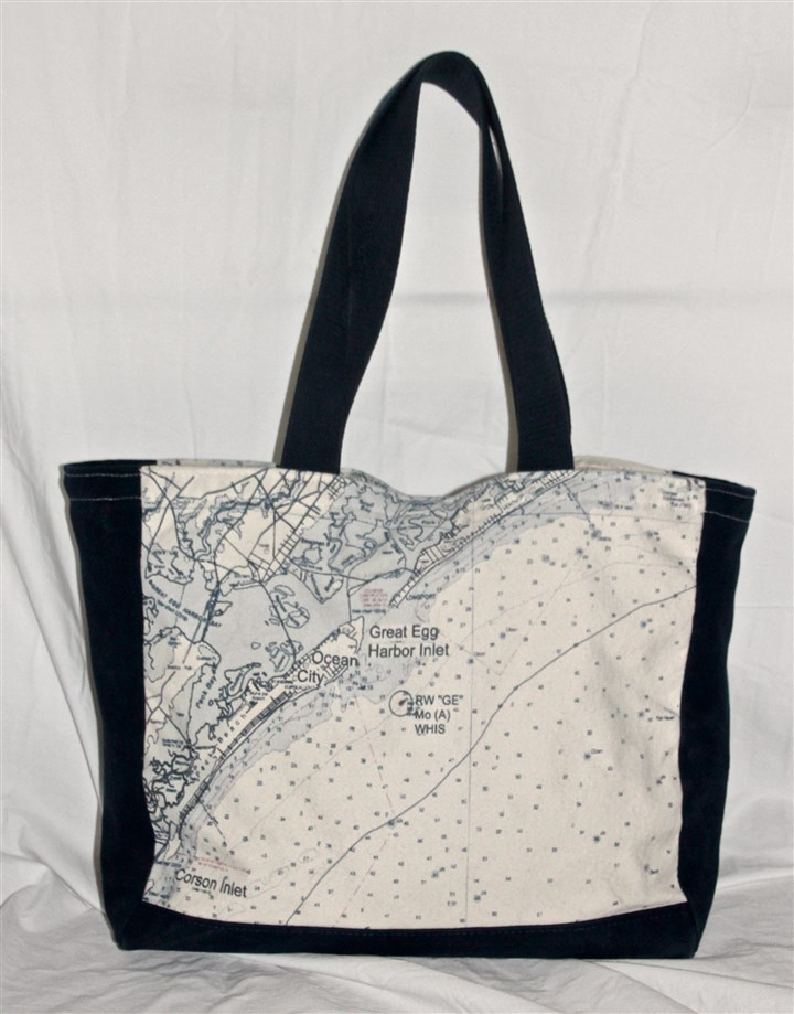 Tote Not for Navigation's tote bag with nautical chart of Great Egg Harbor Inlet and Ocean City, N.J. is available at www.notfornavigation.com.