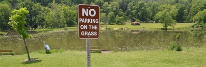 "North Park Lake parking ""No Parking On The Grass"" signs have been installed near North Park Lake."