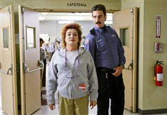 "Kate Mulgrew, left, and Pablo Schreiber in a scene from ""Orange is the New Black."""
