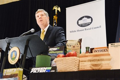 20140604dsVilsackLocal04-1 Tom Vilsack, U.S. Department of Agriculture secretary, speaks in Canonsburg for the White House Rural Council's first Made in Rural America Regional Forum. He said the region's established success in business exporting was one reason it was chosen to kick off the first of five discussions on the topic across the country.