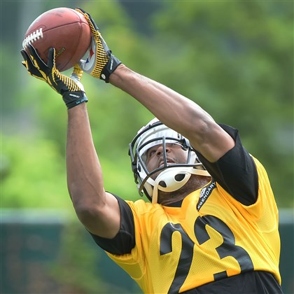 Steelers safety Mike Mitchell Steelers safety Mike Mitchell intercepts pass during morning OTA workouts earlier this month at the team's South Side traning facility.