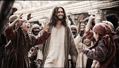"20140605HOSonofGodDVD-2 Diego Morgado as Jesus greets his followers in ""Son of God."""