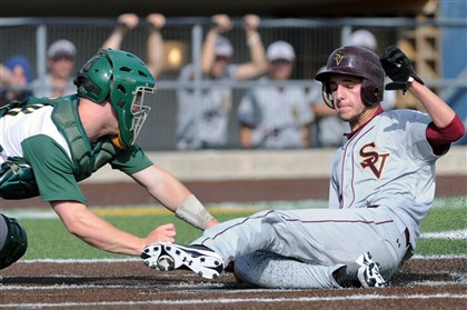20140527JHSportsBB06.jpg Seton-LaSalle catcher Liam Sweeney can't make the tag in time as Steel Valley's Sean McShane scores during the WPIAL Class AA championship game at Consol Energy Park.