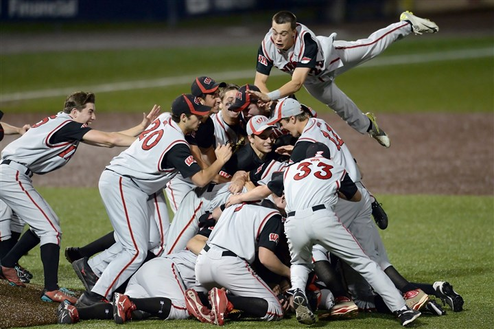 20140529mfblackhawksports12.jpg West Allegheny's Mike Cummings leaps onto a pile of teammates after the Indians defeated Blackhawk for the WPIAL Class AAA championship last Thursday at Consol Energy Park.