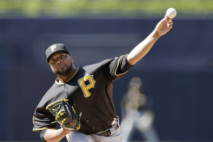 Pirates Padres Baseball Pirates starting pitcher Francisco Liriano pitches to a San Diego Padres batter during the first inning.