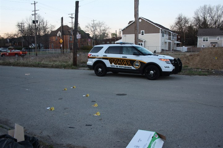 Scene of Adrian Williams Pittsburgh police shooting Homewood, Pa. The scene on the morning of April 21, following the shooting of Adrian Williams in Homewood.