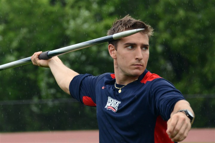 20140604lfThrowSports01 Chris Carper of Robert Morris won the NCAA East Regional Championship in javelin and will compete for the national title next week at the NCAA championships in Oregon. He is the first RMU track athlete to win a regional title.