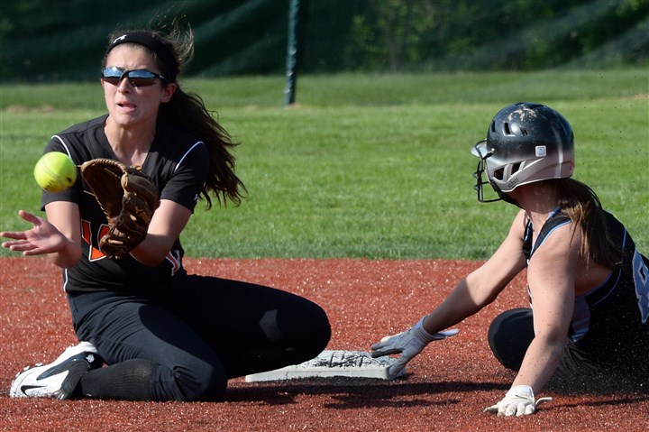 9pj00kli.jpg Latrobe's Maddie Stein gets Seneca Valley's Alexa Sisko out at second base in a WPIAL playoff game last month.