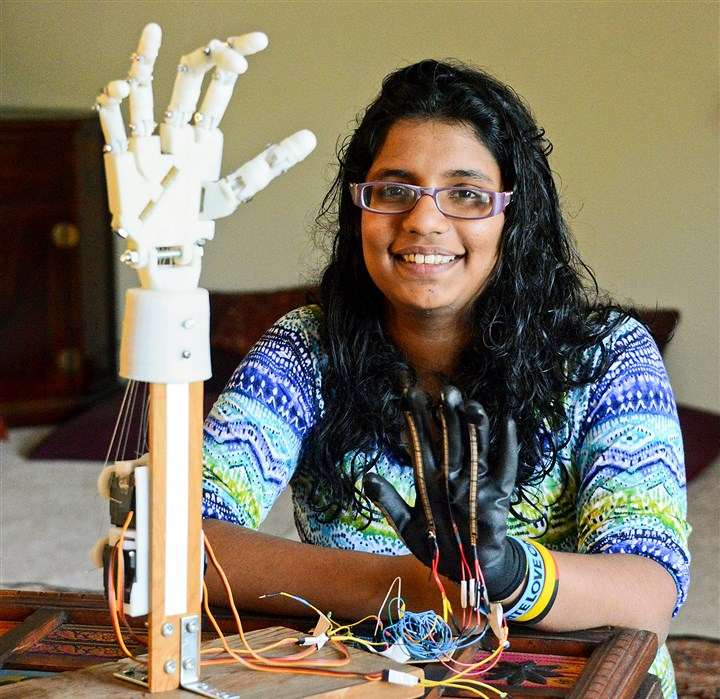 20140605lfRobotLocal01 Ananya Cleetus, 17, a junior at Upper St. Clair High School was the only student from Pennsylvania to attend the White House Science Fair last week. She presented a robotic hand designed to aid leprosy patients. photo taken on Thursday, June 5, 2014.