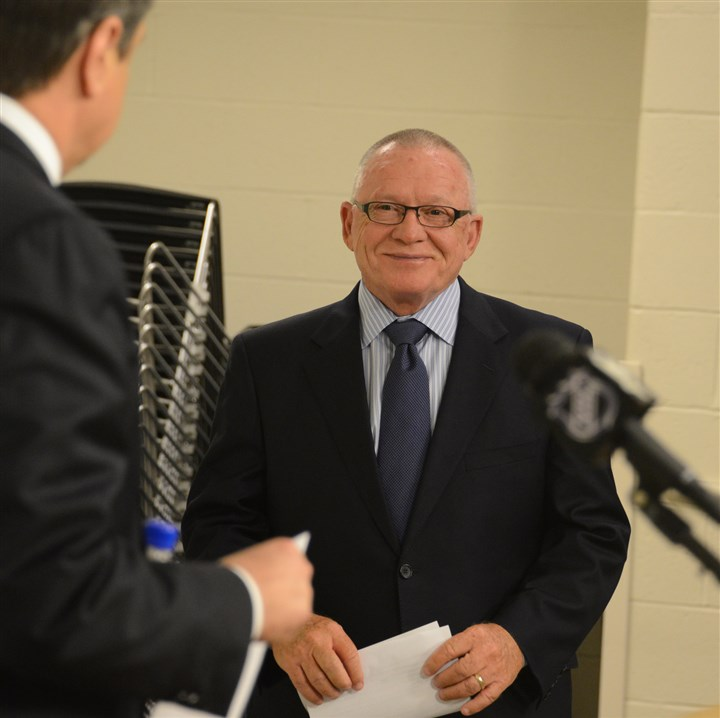 Jim Rutherford introduction David Morehouse introduces new Penguins general manager Jim Rutherford to the media at at CONSOL Energy Center earlier this month.