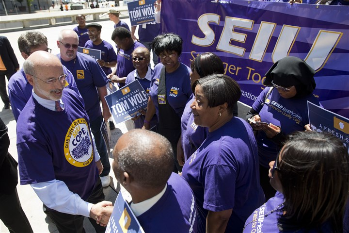 SEIU Tom Wolf , the Democratic gubernatorial candidate, meets with members of the Service Employees International Union after receiving their endorsement today in Philadelphia.
