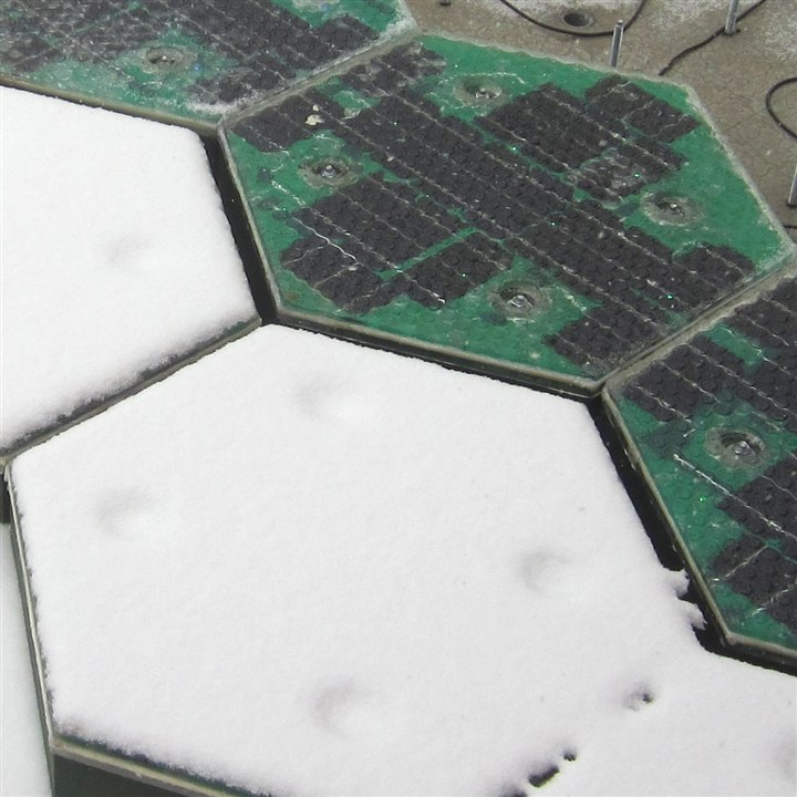SolarRoadways5-2 Solar Roadways panels are tested for snow removal capability.