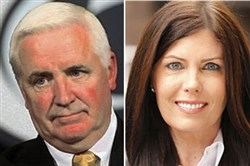 Pennsylvania Gov. Tom Corbett and Attorney General Kathleen Kane.