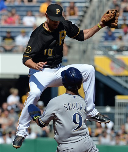 Jordy Mercer leaps to try to field a throw from Ike Davis  Jordy Mercer leaps to try to field a throw from Ike Davis against Brewers' Jean Segura at second base Saturday at PNC Park. The Pirates were charged two errors on the play.