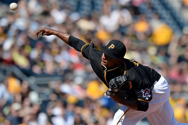 Pirates' Edinson Volquez pitches against the Brewers Pirates' Edinson Volquez pitches against the Brewers Saturday at PNC Park.
