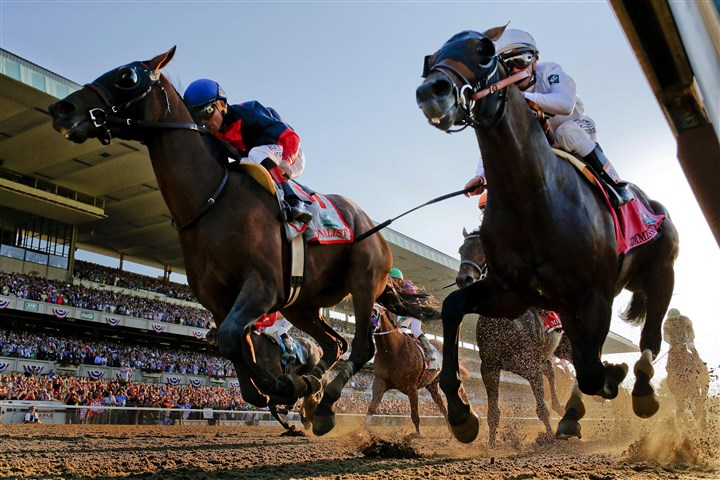 Tonalist, left, ridden by Joel Rosario Tonalist, left, ridden by Joel Rosario, edges out Commissioner, ridden by Javier Castellano, to win the 146th running of the Belmont Stakes horse race Saturday