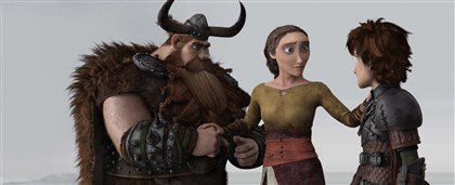 "20140613Dragon1 Hiccup (Jay Baruchel) learns a shocking truth from his father Stoick (Gerard Butler) and mother Valka (Cate Blanchett) in ""How to Train Your Dragon 2."""