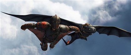"20140613Dragon2-1 Hiccup (Jay Baruchel) and Toothless do some fancy flying in ""How to Train Your Dragon 2."""