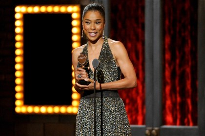 "9q200pdq-4 Sophie Okonedo accepts the award for best performance by an actress in a featured role in a play for ""A Raisin in the Sun."""