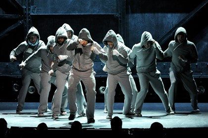 "9q200pdo-2 The cast of ""Rocky"" performs on stage at the 68th annual Tony Awards at Radio City Music Hall on Sunday."