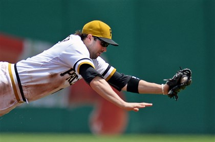 Neil Walker Neil Walker dives for a ball hit by Brewers' Yovani Gallardo Sunday, June 8, 2014, at PNC Park.