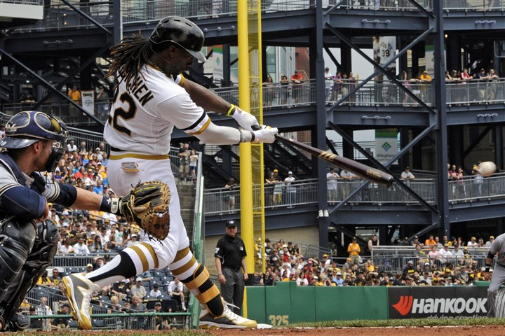 20140608mfbucssports01 Andrew McCutchen hits a single against the Brewers' Yovani Gallardo in during a game at PNC Park on June 8, 2014.