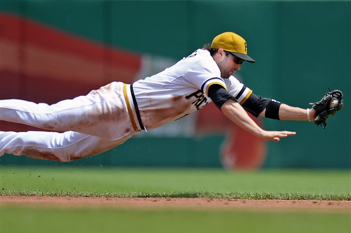 Neil Walker Neil Walker dives for a ball hit by the Brewers' Yovani Gallardo in the third inning Sunday, June 8, 2014 at PNC Park.