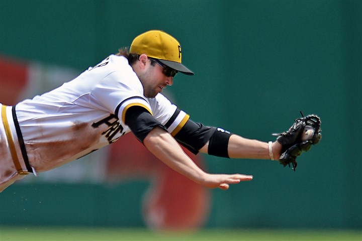 Neil Walker Neil Walker dives for a ball hit by Brewers' Yovani Gallardo in the third inning June 8, 2014 at PNC Park.
