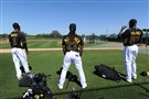 Pittsburgh Pirates outfield (left to right) Starling Marte, Andrew McCutchen and Gregory Polanco last year at Pirate City, Bradenton Fla.