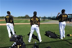 The Pirates starting outfield (left to right) Starling Marte,  Andrew McCutchen and Gregory Polanco at Pirate City in Bradenton, Florida.