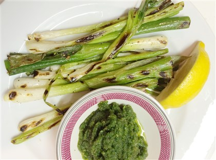 20140610hofood2110  Grilled Scallion Salad, Batali-Style: Squeeze of Lemon, Almond Pesto