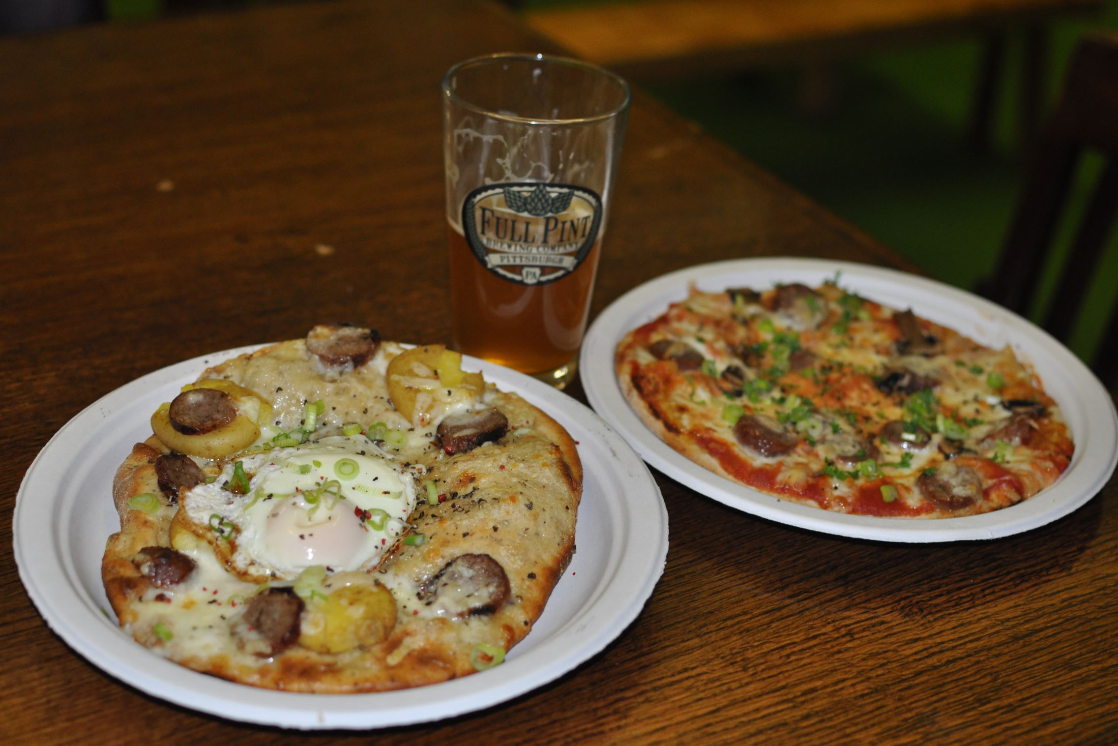 20140612GIGmunch1  The Irish Breakfast and Sausage and Mushroom pizzas at Full Pint Brewing in North Versailles.
