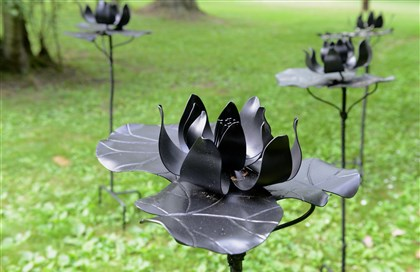 'Shadow of Monet' One stop in Chris Holt's gardenis called 'Shadow of Monet' and features forged mild steel water lilies that Ms. Holt, a blacksmith, created.