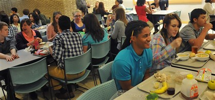 School lunches 06112014 Mentschaas Anderson, foreground, 16, has lunch with the rest of the sophomore class recently at City Charter High School.